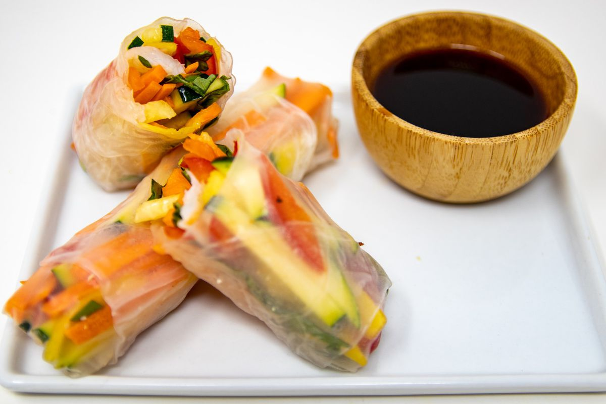Gỏi cuốn filled with Georgia shrimp, cucumbers, mango, carrots, peppers, and Thai basil from JenChan's Delivery Supper Club
