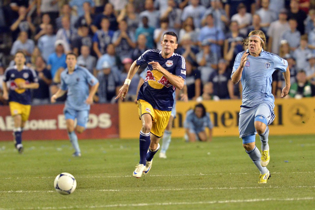 It's a race for first place in the Eastern Conference between the New York Red Bulls and Sporting Kansas City (Denny Medley-US PRESSWIRE).