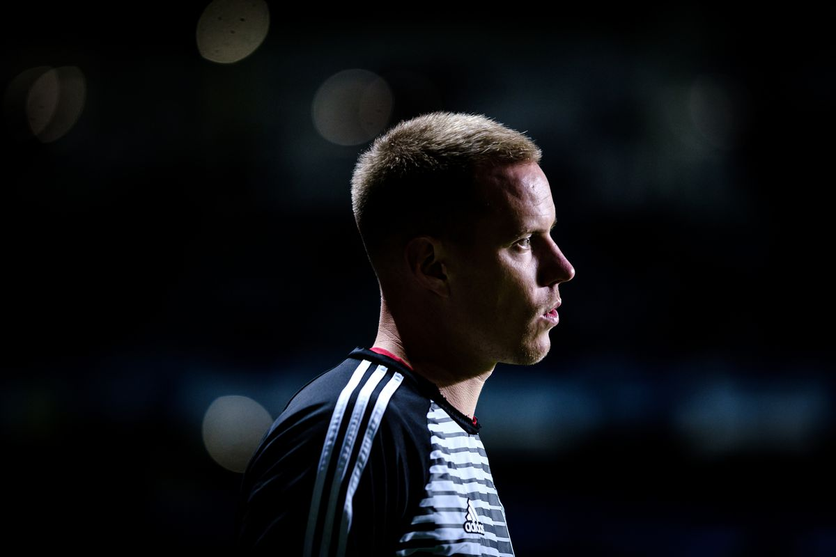 Mark- Andre Ter Stegen (22) of Germany on warm-up during the...