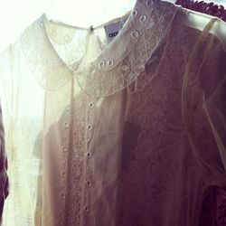 Channel Alexa Chung in this super sheer eyelet blouse