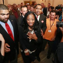Mia Love, U.S. congresswoman-elect, is greeted by supporters and media at the Hilton Salt Lake City Center on Tuesday, Nov. 4, 2014, in Salt Lake City.