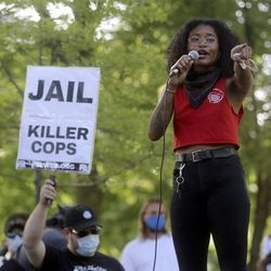 Deja Gaston speaks at a Party for Socialism and Liberation rally outside of the Salt Lake City-County Building in Salt Lake City on Monday, June 1, 2020.