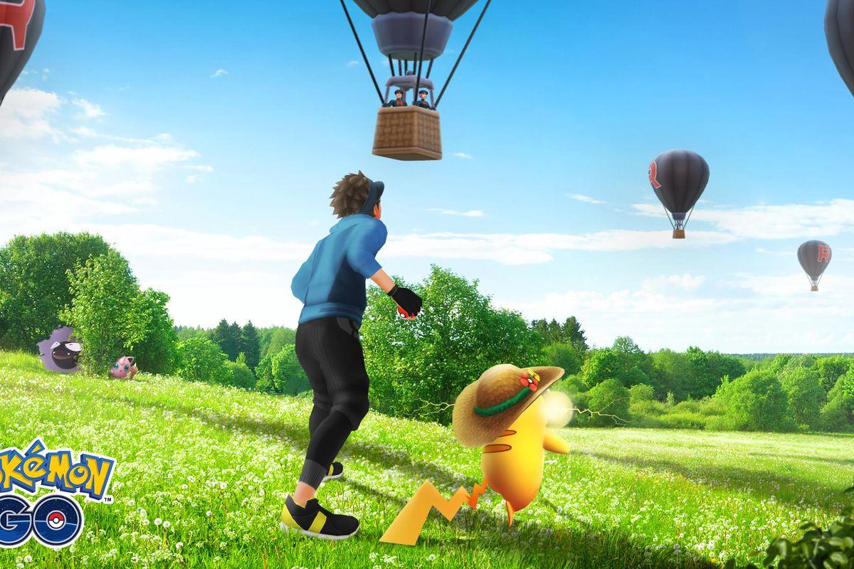 Artwork of Team Go Rocket hot air balloons for Pokemon Go