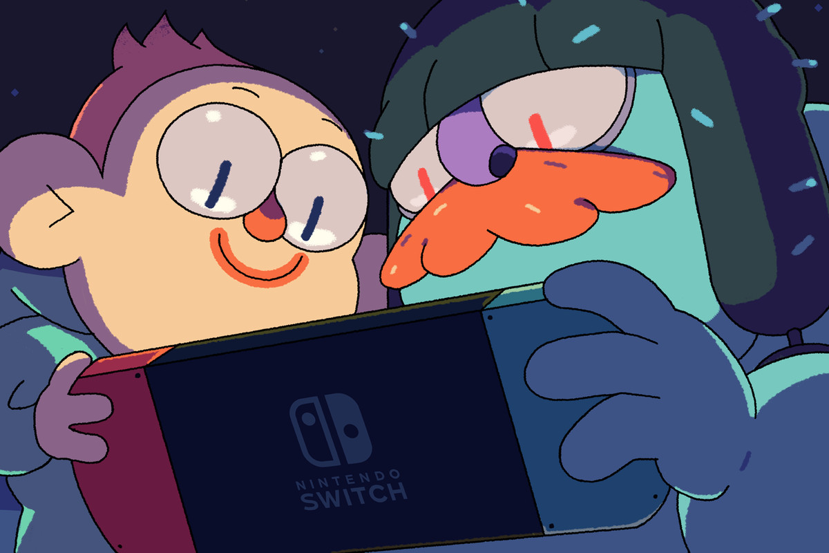 Grindstone characters looking lovingly at a Nintendo Switch