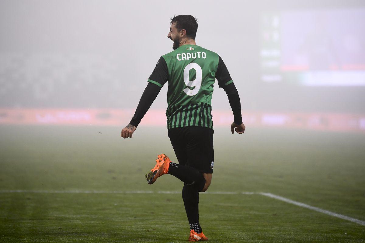 Francesco Caputo of US Sassuolo celebrates after scoring a...