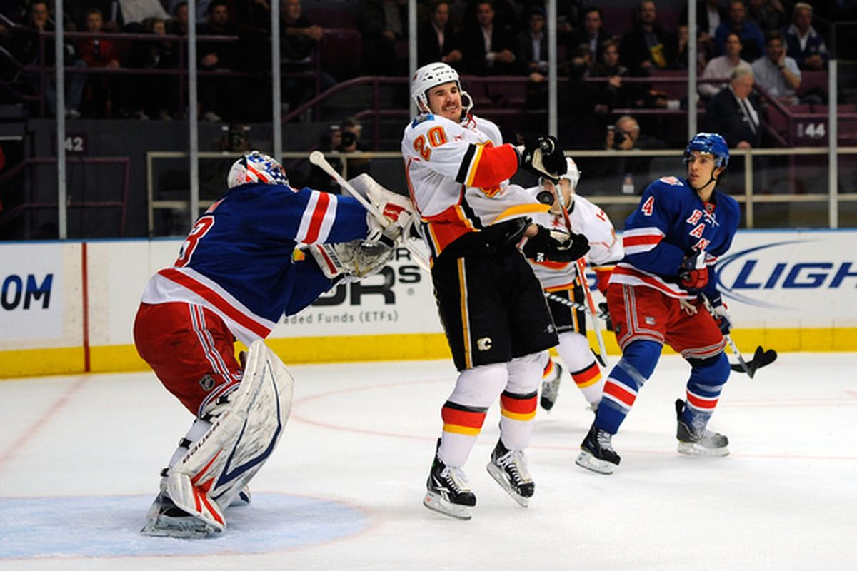 Calgary's visits to the Big Apple are so rare I had to use this photo of Curtis Glencross getting in Martin Biron's face from 2010.