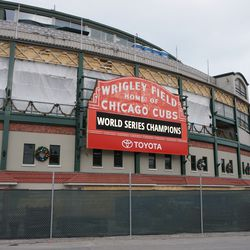 View of the marquee from across the street on Clark Street