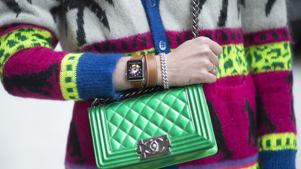 The Hermès Apple Watch worn at New York Fashion Week. Photo: Getty Images