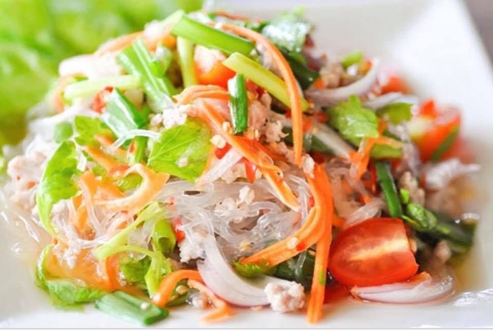 A close up image of glass noodle salad