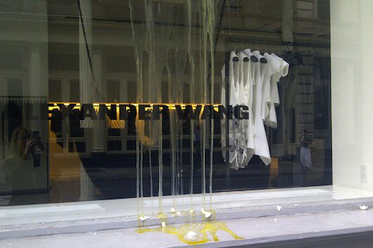"Image via <a href=""http://www.refinery29.com/alexander-wang-store-egged-2"">Refinery29</a>"
