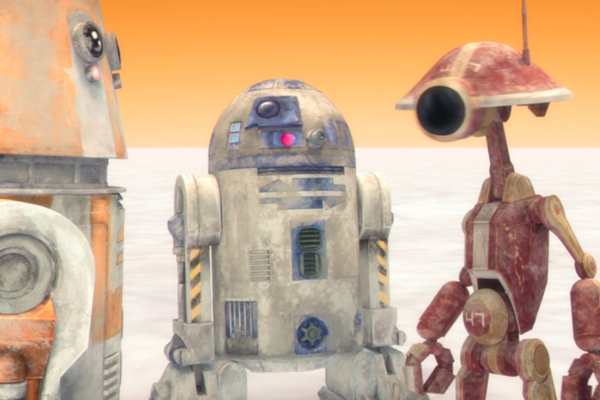 r2d2 and a prequel podracer droid hang out on a desert in the clone wars