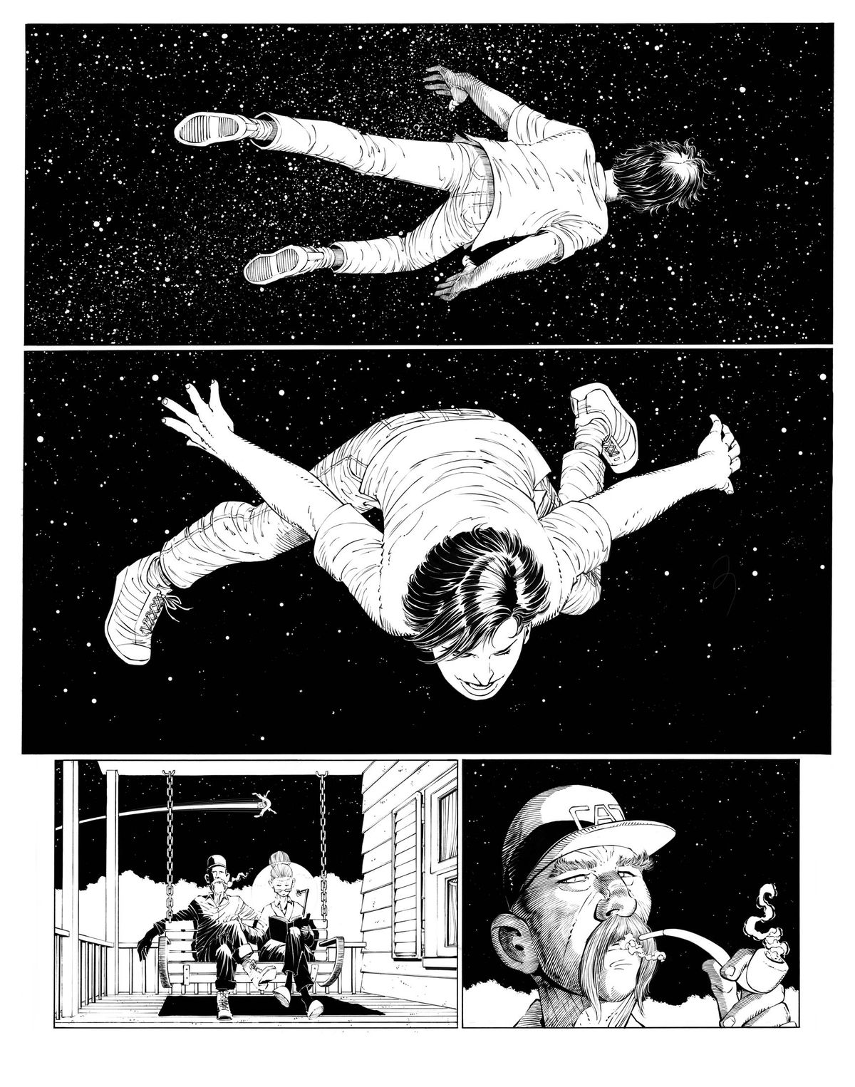 An inked page of Clark Kent flying from Superman: Year One #1, DC Comics (2019).