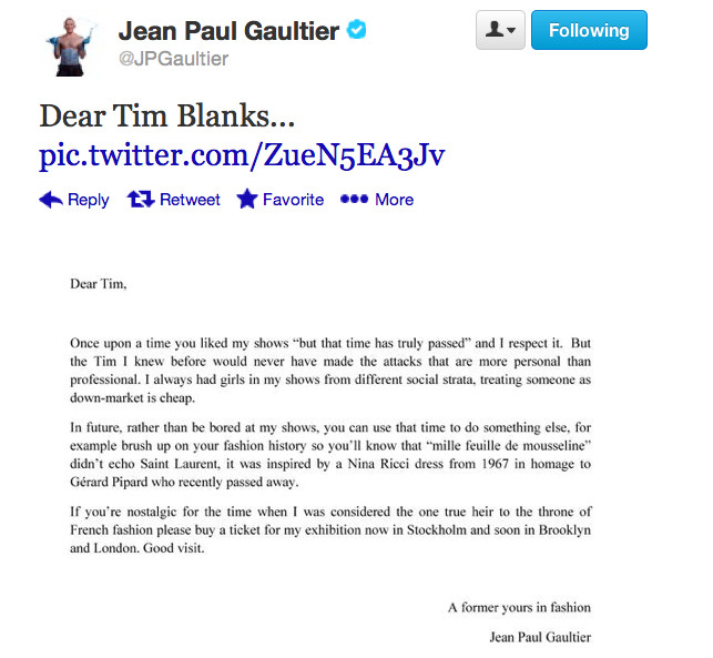 Gaultier Revives the Open Letter in Response to a Bad Review Racked