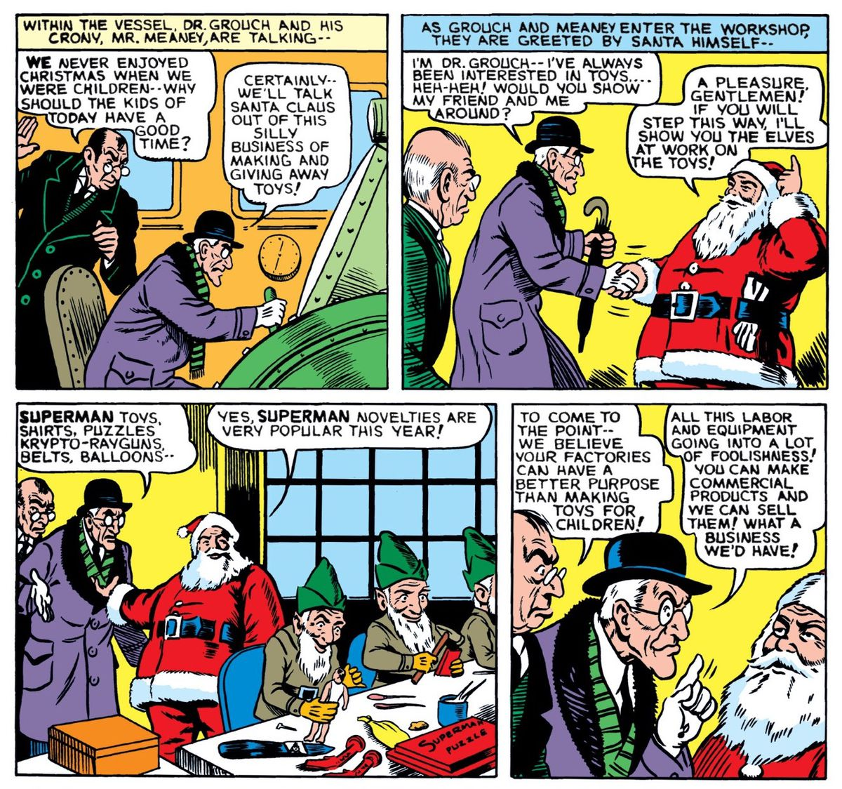 Dr. Grouch and Mr. Meaney try to talk Santa out of making toys in favor of more lucrative items, in Superman's Christmas Adventure, DC Comics (1940)