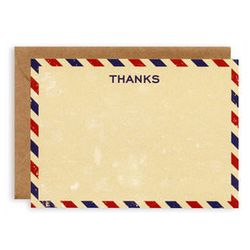 """<a href=""""http://www.katespaperie.com/store/category/stationery___paper/thank_you_cards/item/0015773/thank_you_notes_airmail/""""> Kate's Paperie Airmail Thank You Cards</a>, $12 for 8 cards katespaperie.com"""
