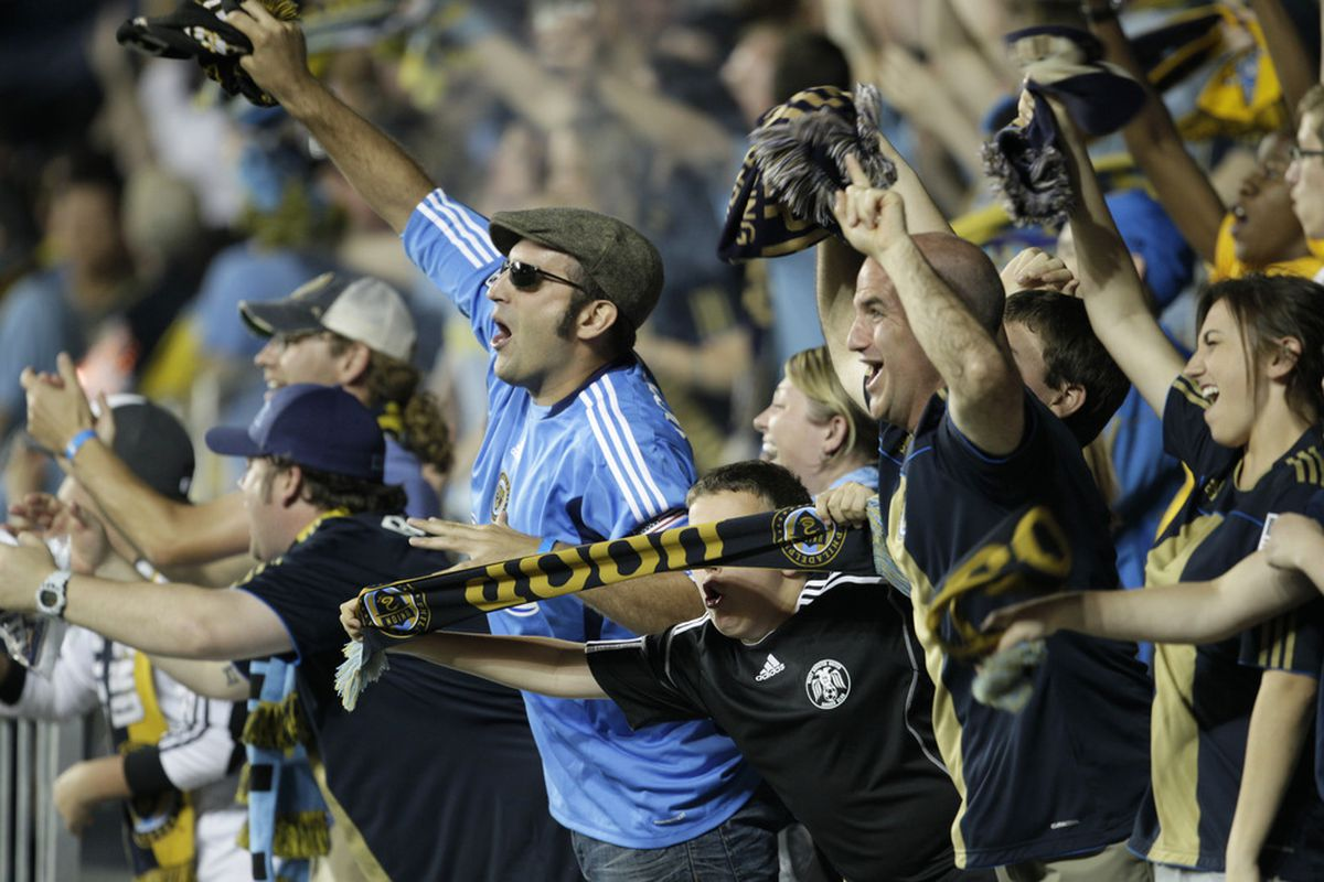 CHESTER, PA - May 21: Fans celebrate a goal by the Philadelphia Union against the Chicago Fire in the second half of an MLS soccer game May 21, 2011 at PPL Stadium in Chester, Pennsylvania. The Union won 2-1.( Photo by Chris Gardner/Getty Images)