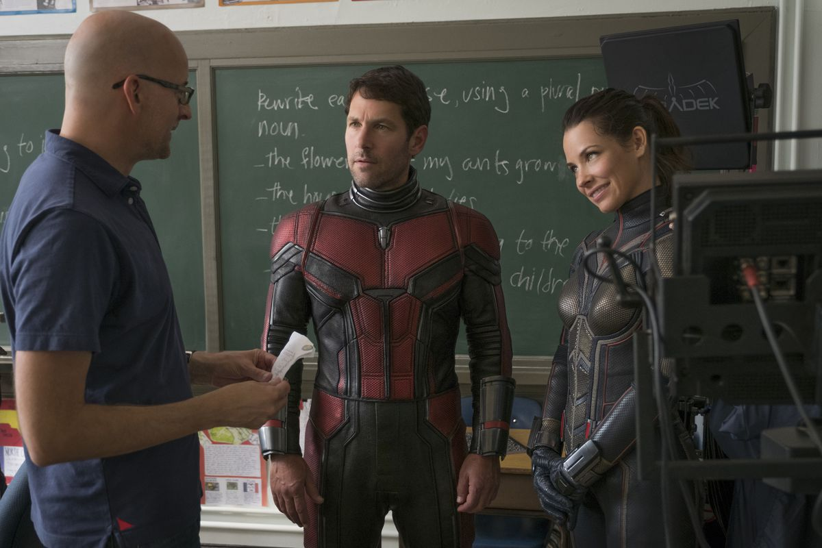 Peyton Reed with stars Paul Rudd and Evangeline Lilly on Ant-Man and the Wasp