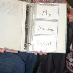 """Joella Peterson\'s 9-year-old handwriting identifies her project as \""""My Ancestors\' Recipes.\"""""""