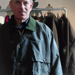 Mark, Filson's President & CEO, models his favorite piece of all: the $320 Duster, of oil finish Shelter Cloth.