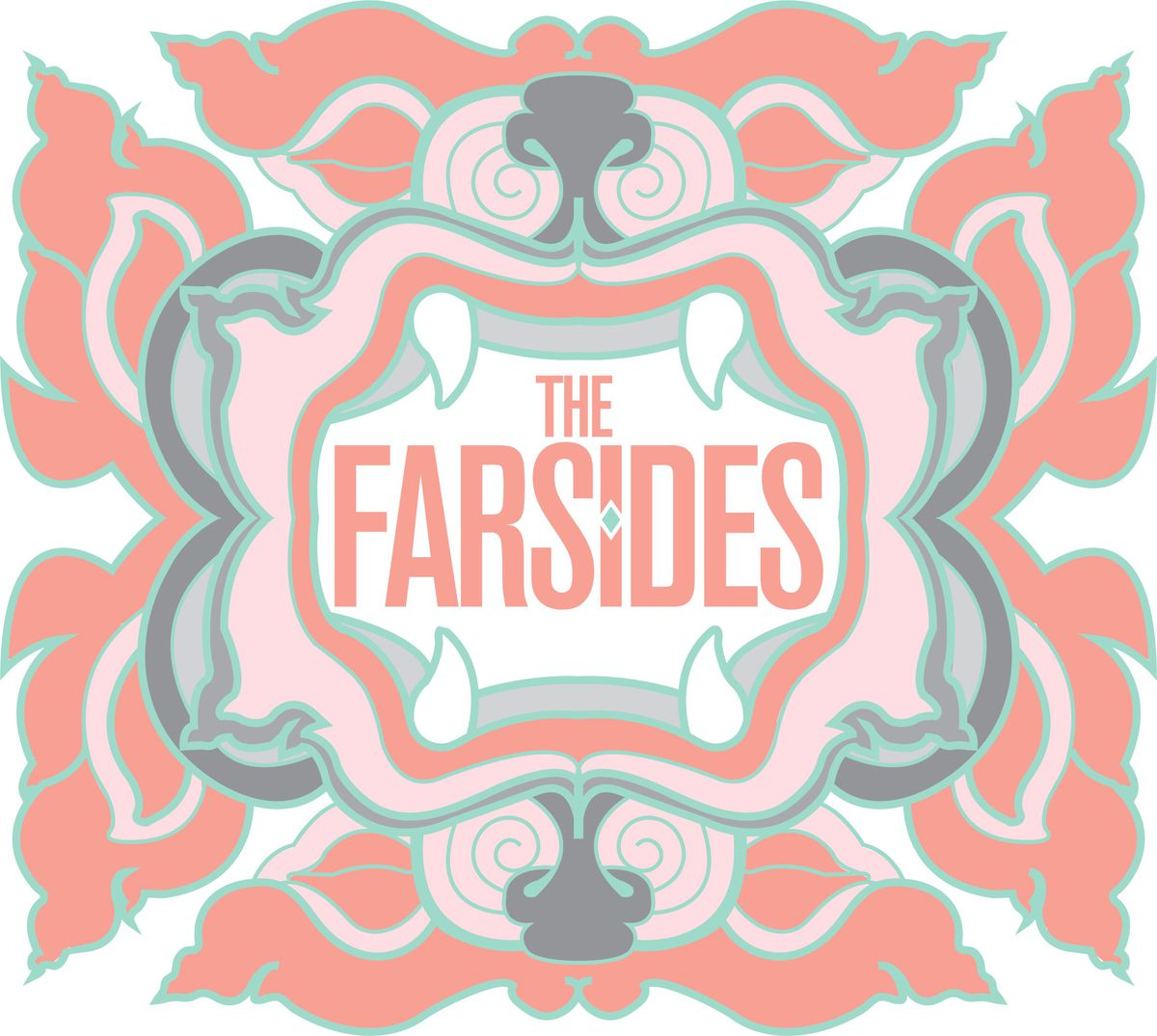 A floral logo for the Farsides rendered in pink and blue.
