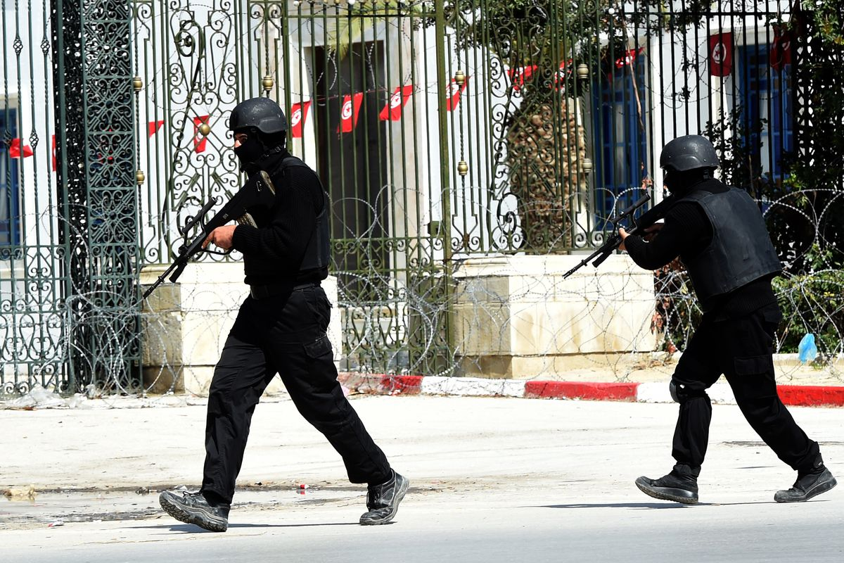 Tunisian security forces secure the area after gunmen attacked Tunis' famed Bardo Museum.