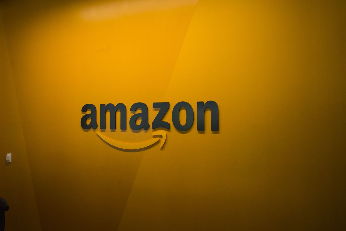 The Amazon sign with the company's trademark smile beneath it.
