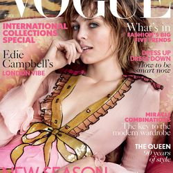 Edie Campbell on the March cover of British Vogue. Photo: Vogue UK.