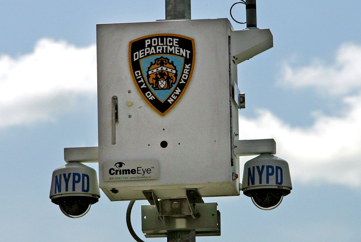 A wireless NYPD surveillance camera system in Brooklyn.