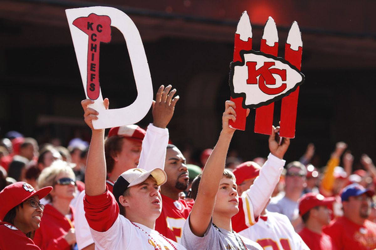 KANSAS CITY MO - SEPTEMBER 26: A pair of Kansas City Chiefs fans look on during the game against the San Francisco 49ers at Arrowhead Stadium on September 26 2010 in Kansas City Missouri. The Chiefs won 31-10. (Photo by Joe Robbins/Getty Images)
