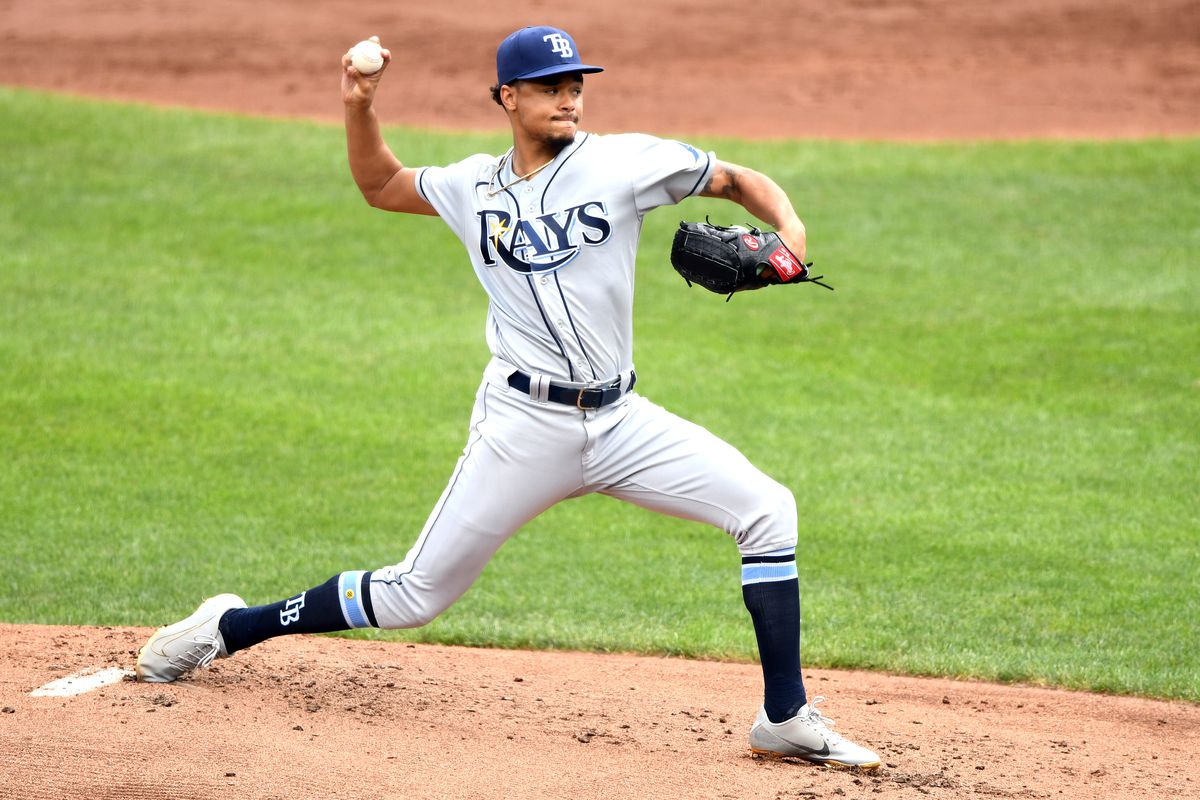 Chris Archer #22 of the Tampa Bay Rays pitches in the first inning during a baseball game against the Baltimore Orioles at Oriole Park at Camden Yards on August 29, 2021 in Baltimore, Maryland.