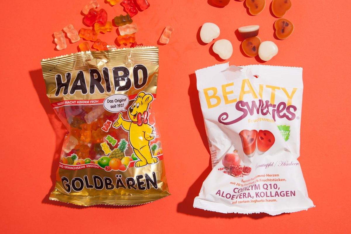 Haribo gummies and collagen enriched beauty gummies.