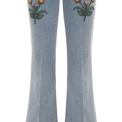 Gucci is sticking with the floral theme this summer with these embroidered, bleach washed flares.