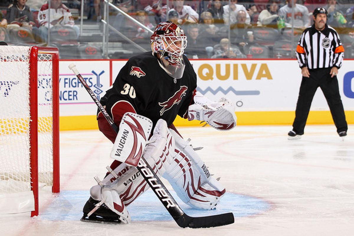 Goaltender Ilya Bryzgalov, #30 of the Phoenix Coyotes, seen here before hopping off a sinking ship.