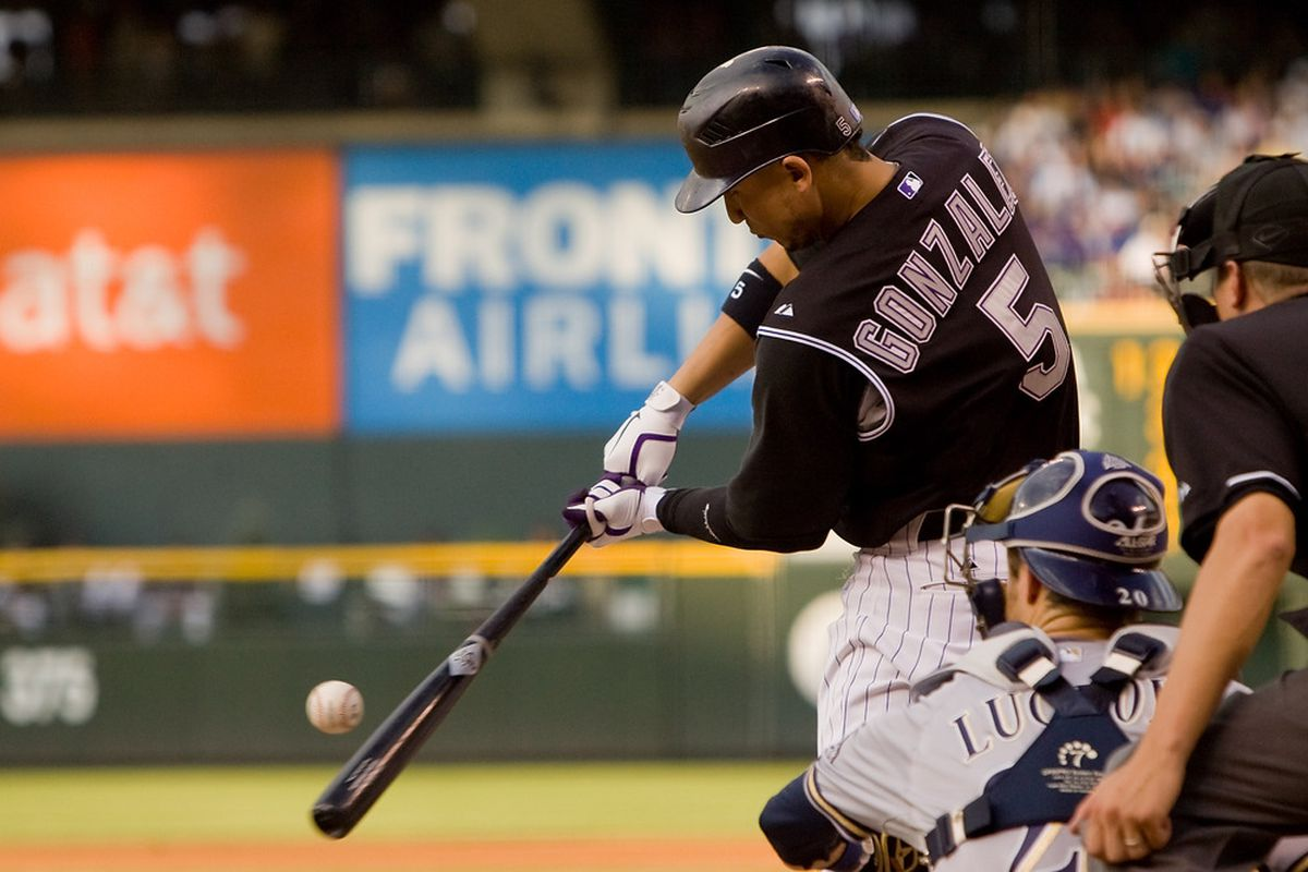 Carlos Gonzalez doubled and homered in today's action against the Milwaukee Brewers.