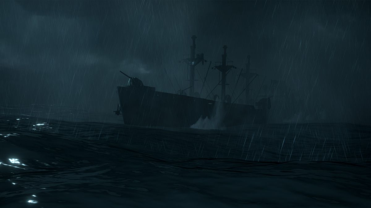 a dark ship floats in the middle of stormy waters at night