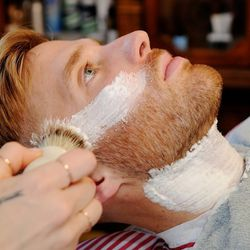 """When it comes to receiving a hot shave treatment, Diaz says it's all about the experience. """"I think it's about the experience of being pampered for the guys. They don't really have a lot of things that they can do, so I feel like it's just an experience f"""
