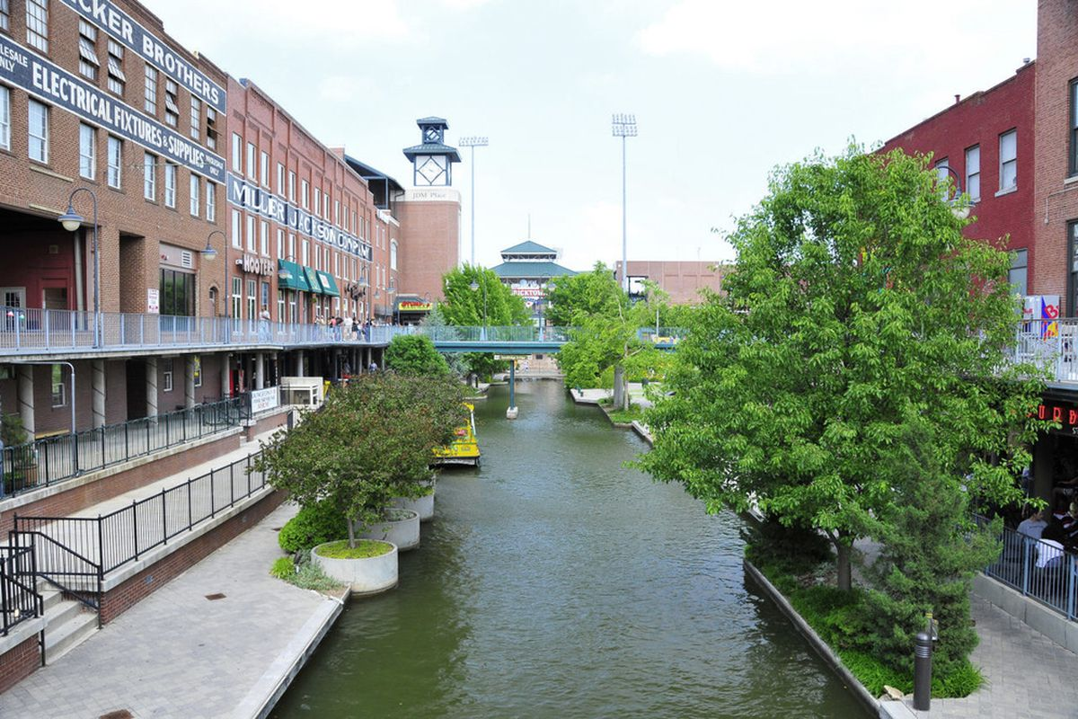 """by - <a href=""""http://www.flickr.com/photos/sergemelki/"""" target=""""new"""">Serge Melki </a> - The Bricktown Canal in Oklahoma City."""