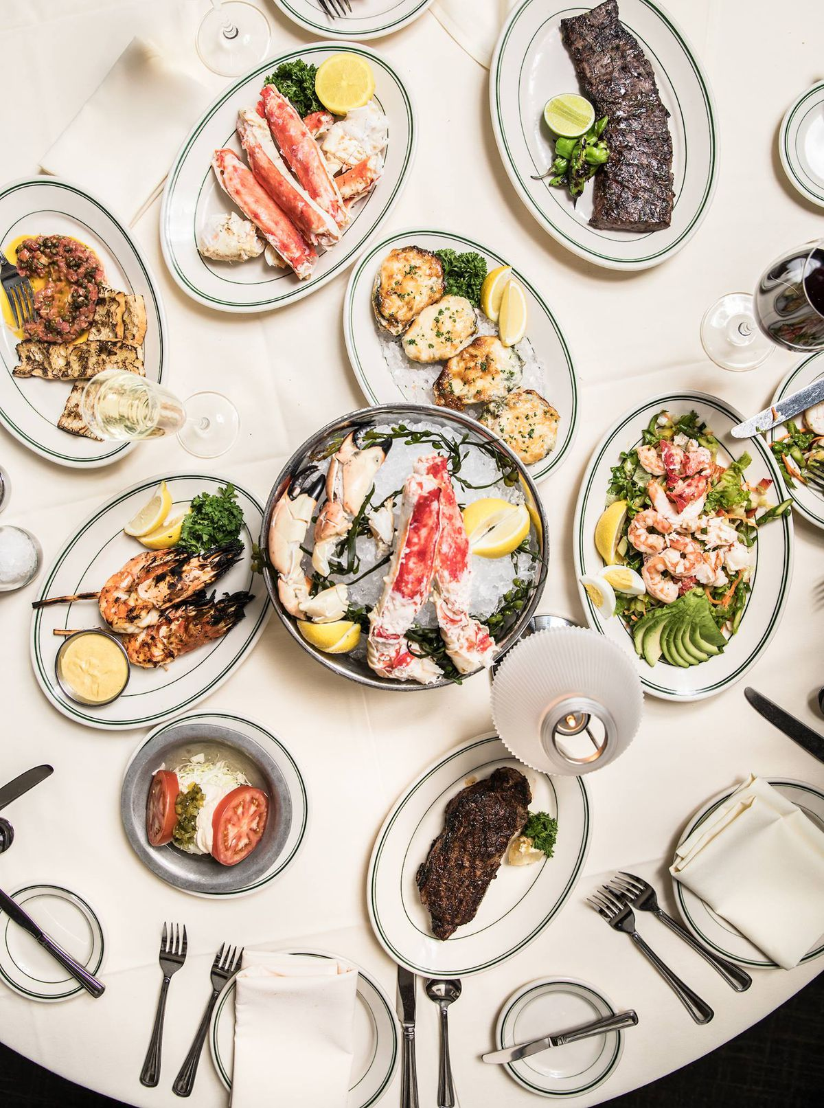 An array of dishes from Joe's Seafood, Prime Steak & Stone Crab