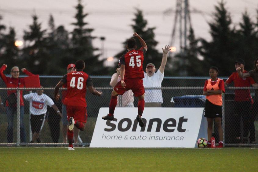 USL Photo - TFC II's Luca Uccello celebrates his strike against the Ottawa Fury on Saturday night