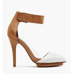 """<b>Jeffrey Campbell</b> Solitaire Platform Pump in white patent/tan leather, <a href=""""http://www.nastygal.com/shoes-heels/solitaire-platform-pump-white-patent#"""">$138</a> at Nasty Gal"""