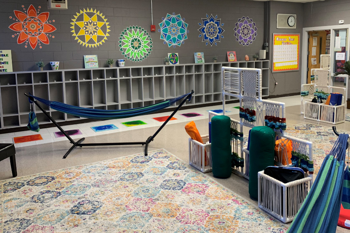 The newly-opened relaxation room at Sussex Avenue School is primarily for educators, but will be used by students for free time and yoga.