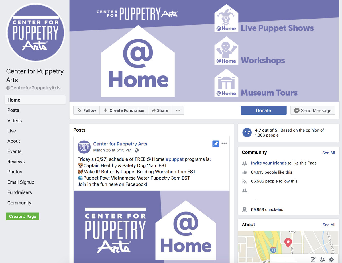 Screenshot of the Center for Puppetry Art's Facebook page.