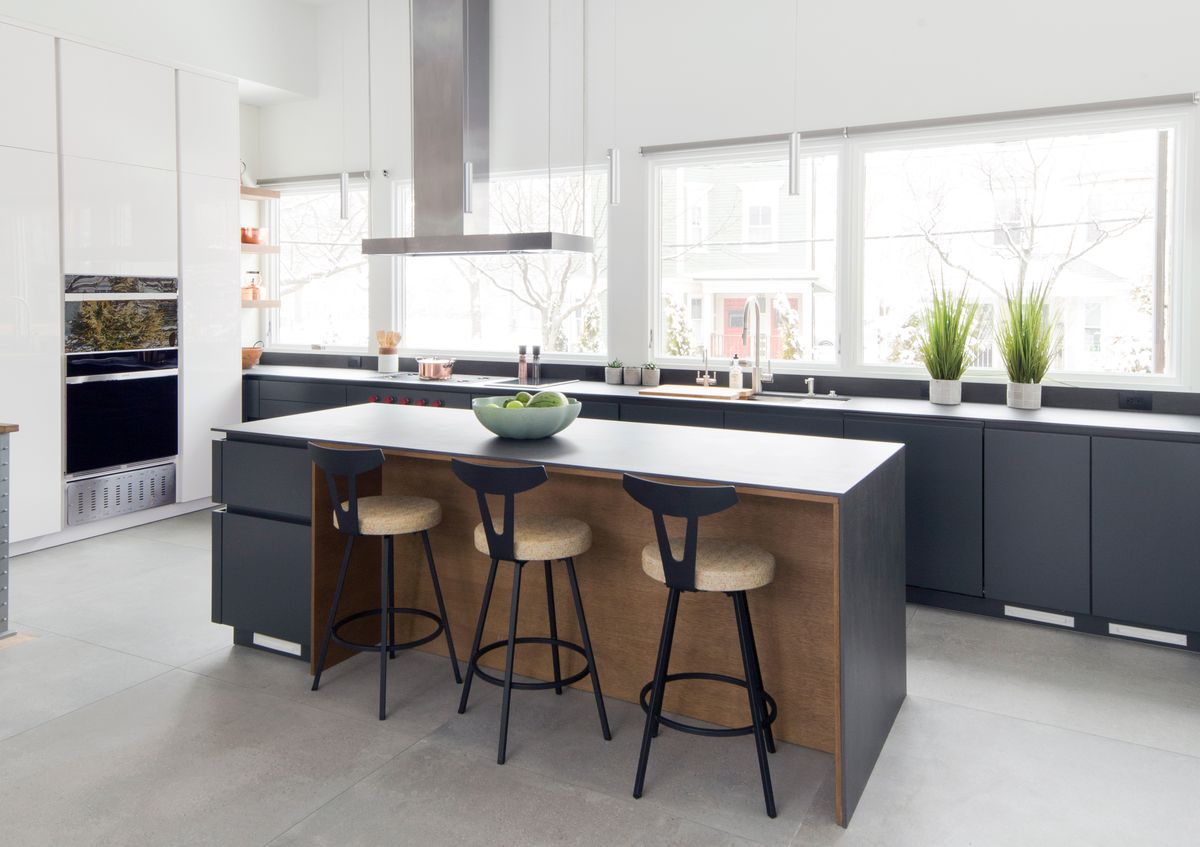 Brookline Kitchen, Waterfall Countertops