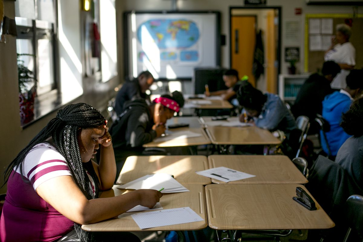 Students at work in a math class at Southeastern High School in Detroit.