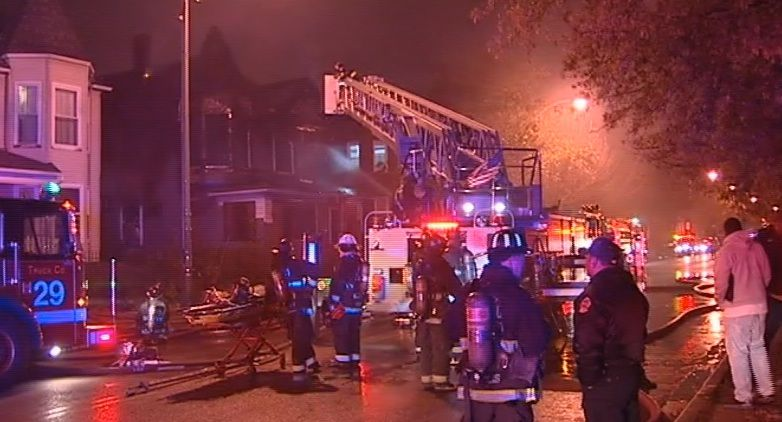 Crews battle a blaze at a vacant Austin building late Thursday. | Network Video Productions
