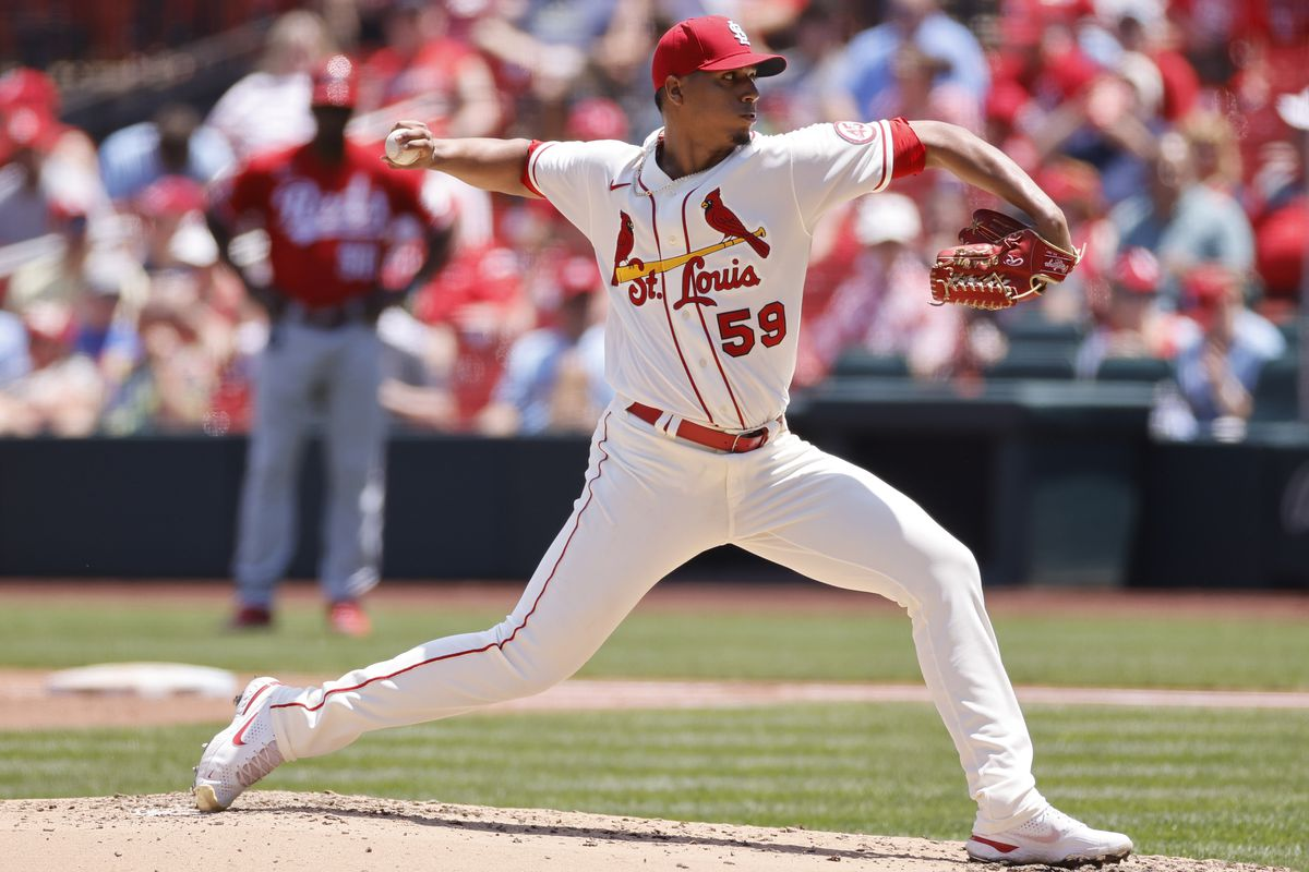 St. Louis Cardinals pitcher Johan Oviedo (59) delivers a pitch during the MLB game against the Cincinnati Reds on June 5, 2021 at Busch Stadium in St. Louis, MO.