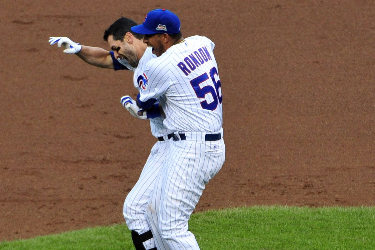 """Hector Rondon can be heard yelling """"Thanks for saving my bacon!"""" to Justin Ruggiano."""