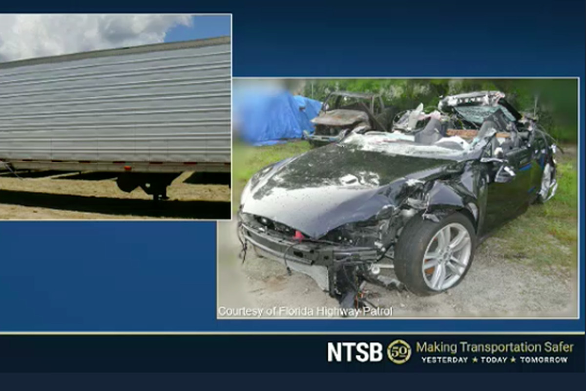 Images of the Tesla and the truck after a fatal collision