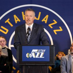 Greg Miller talks about the announcement that ownership of the Jazz will be transferred into a legacy trust to ensure the Jazz stay in Utah at the Vivant Smart Home Arena in Salt Lake City on Monday, Jan. 23, 2017.