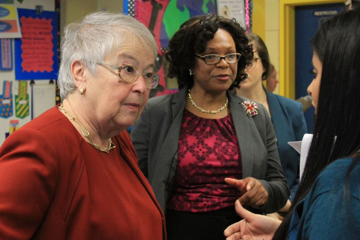Chancellor Carmen Fariña talks to a teacher at the School of Integrated Learning in Brooklyn.